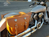 103BO+2 Saddlebags in Indian Leather on Indian Scout