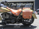 Tan Leather 103 Saddlebags on Harley Softail Standard