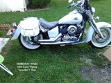 103X Saddlebags in White leather on Yamaha V Star  650