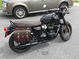 103 Throw Over Saddlebags in Dark Brown leather on Triumph Bonnevill T120