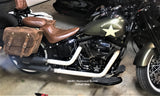 Brown Leather Saddlebags for Harley Davidson Softail Slim S