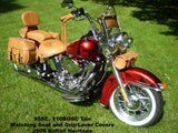 Brown Leather Saddlebags, Matching Seat, Tool bags on Harley Davidson Heritage