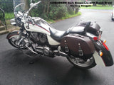 Brown leather saddlebags for Victory Kingpin & Vegas Motorcycles