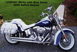 White saddlebags for Harley Softail motorcycles