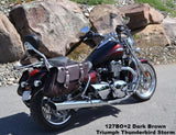 Brown Leather Saddlebags for Triumph Thunderbird Motorcycles