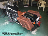 Brown Leather Saddlebags for Triumph Speedmaster Motorcycle