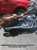 Brown Leather Saddlebags to match Mustang Brown seats for Motorcycles