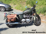 Brown Leather Saddlebags for Triumph Bonneville motorcycle