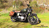 Brown saddlebags for Triumph Bonneville Motorcycle