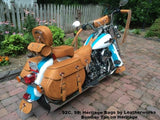 Remake Heritage Bags in Brown leather with tool bag and windshield bag