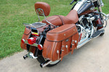Custom Brown Road King Saddlebags with Hand Carving on 2011 Road KIng