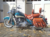 Brown Leather Saddlebags and Matching Seat on 2009 Road King Classic