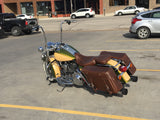 Mustang Distressed Brown Leather Saddlebags for Harley Road King