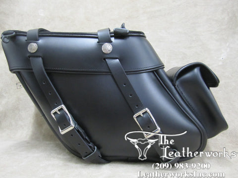 112P Deluxe Wide Angle Leather Saddlebags with Rear Pockets