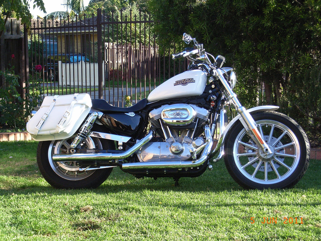 White Saddlebags For Harley Davidson Sportster