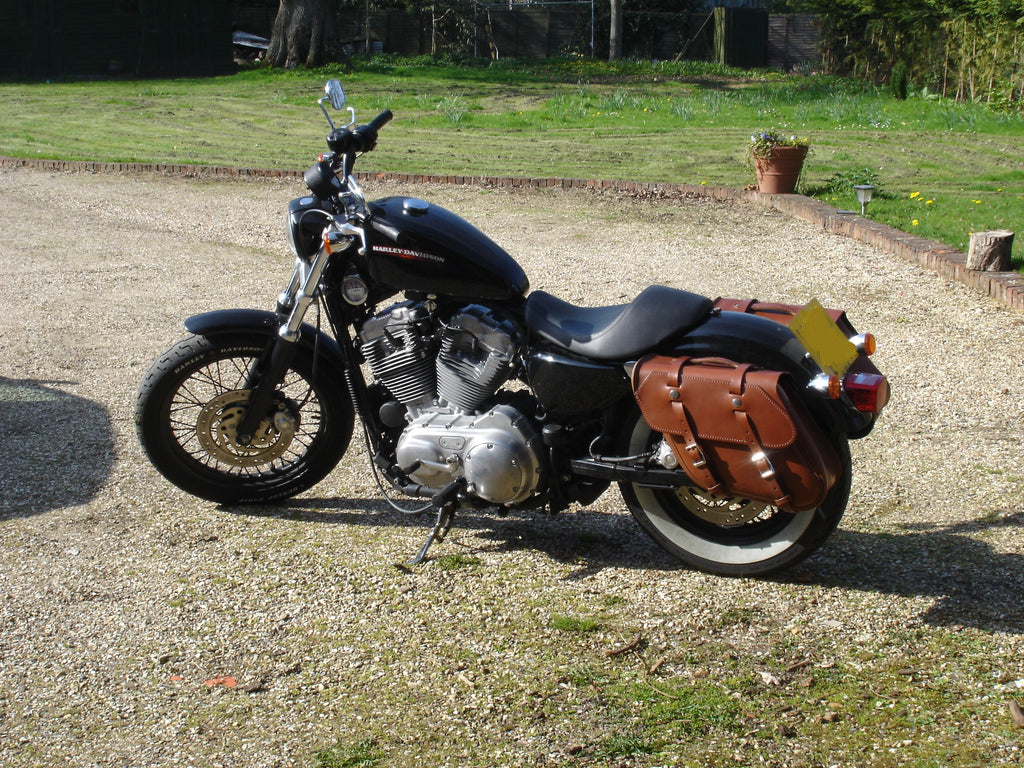 Brown Leather Saddlebags For Harley Davidson Sportster