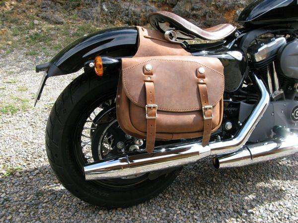 Brown Leather Saddlebags For Harley Davidson Sportster Bikes