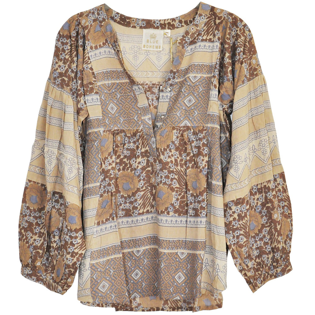 Blue Love Floral Top in Beige