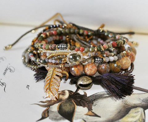 Tai Brown Mixed Agate Bead Bracelet