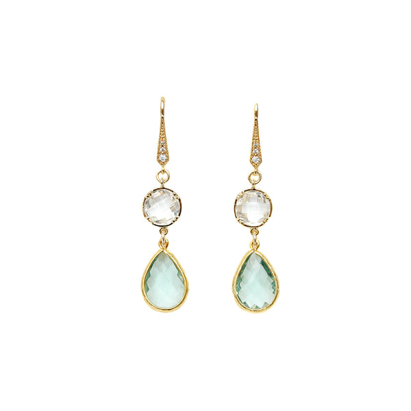 Mint Crystal Teardrop Earrings