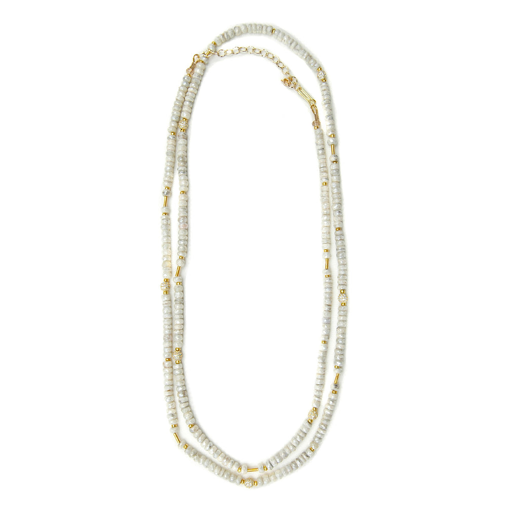 White Corundum Long Layering Necklace