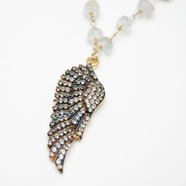 Rutilated Quartz Pavé Wing Necklace