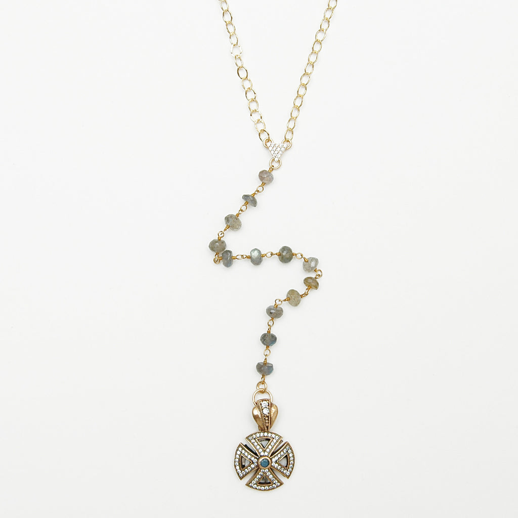 Winged Cross Lariat Necklace