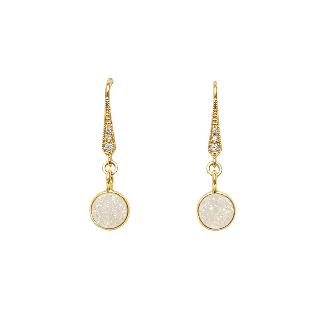 White Druzy Drop Earrings