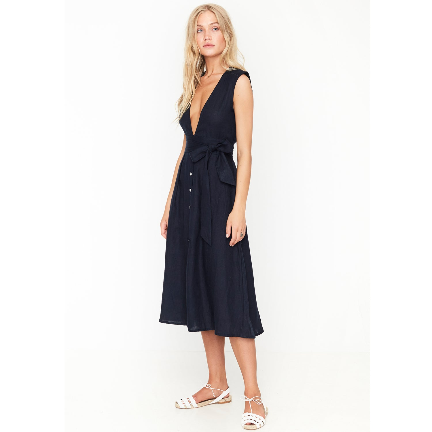dc8d1aed942 Faithfull The Brand Le Roch Midi Dress in Plain Navy - Sun Kissed Diary