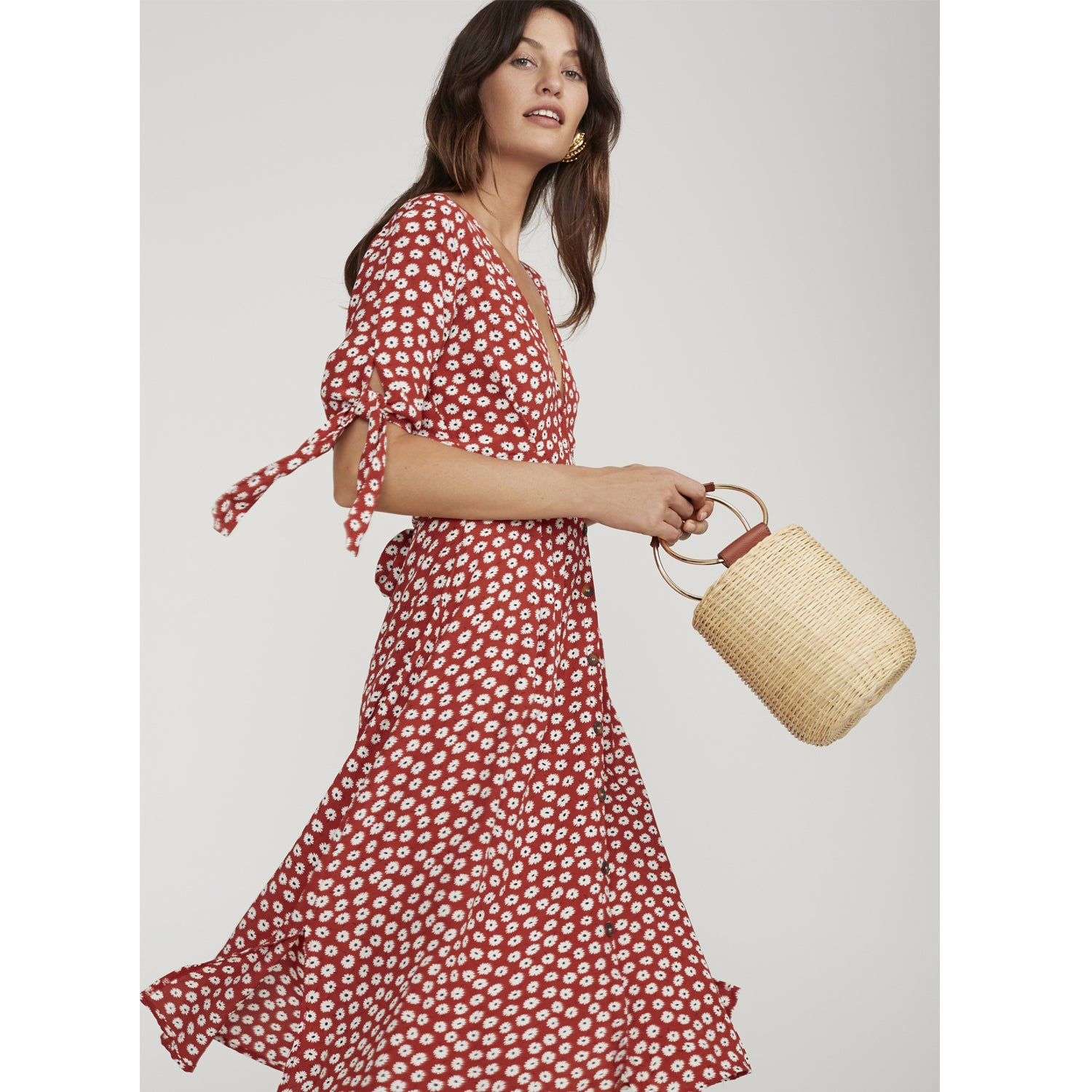 shop best sellers the latest outlet for sale Faithfull The Brand Nina Midi Dress in Red Floral Danica Print ...