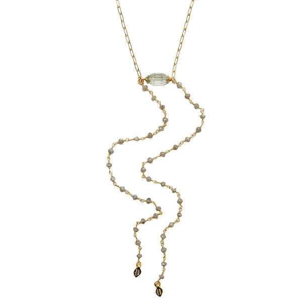 Green Amethyst Double Lariat Necklace