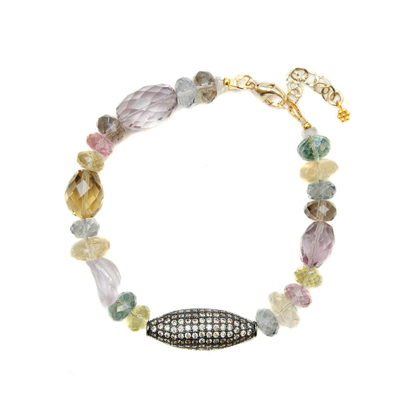 Multi-Color Gemstone Pavé Bead Bracelet