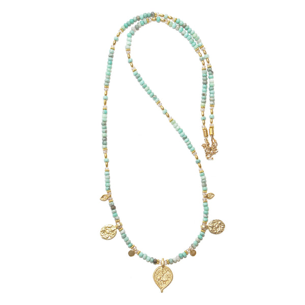 Long Chrysoprase Charm Necklace