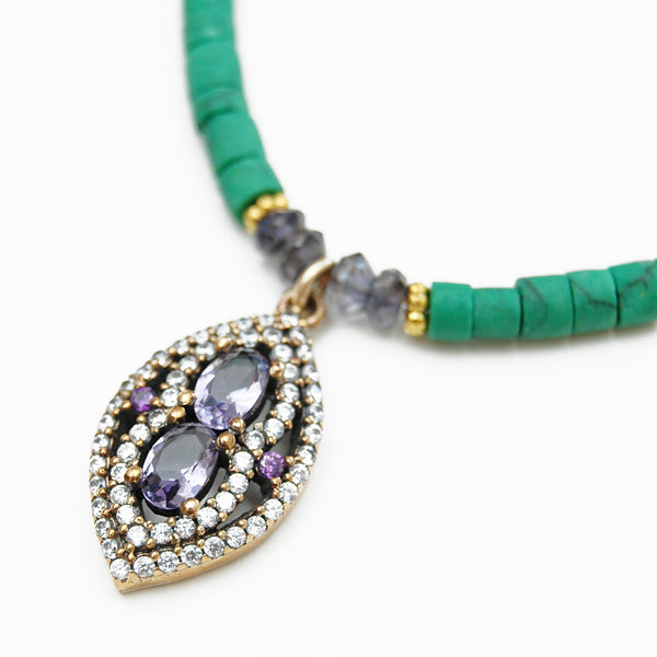 Maxi Necklace in Green With Navy Antique Pendant
