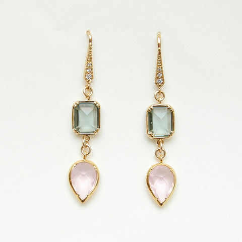 Pink & Green Crystal Teardrop Earrings
