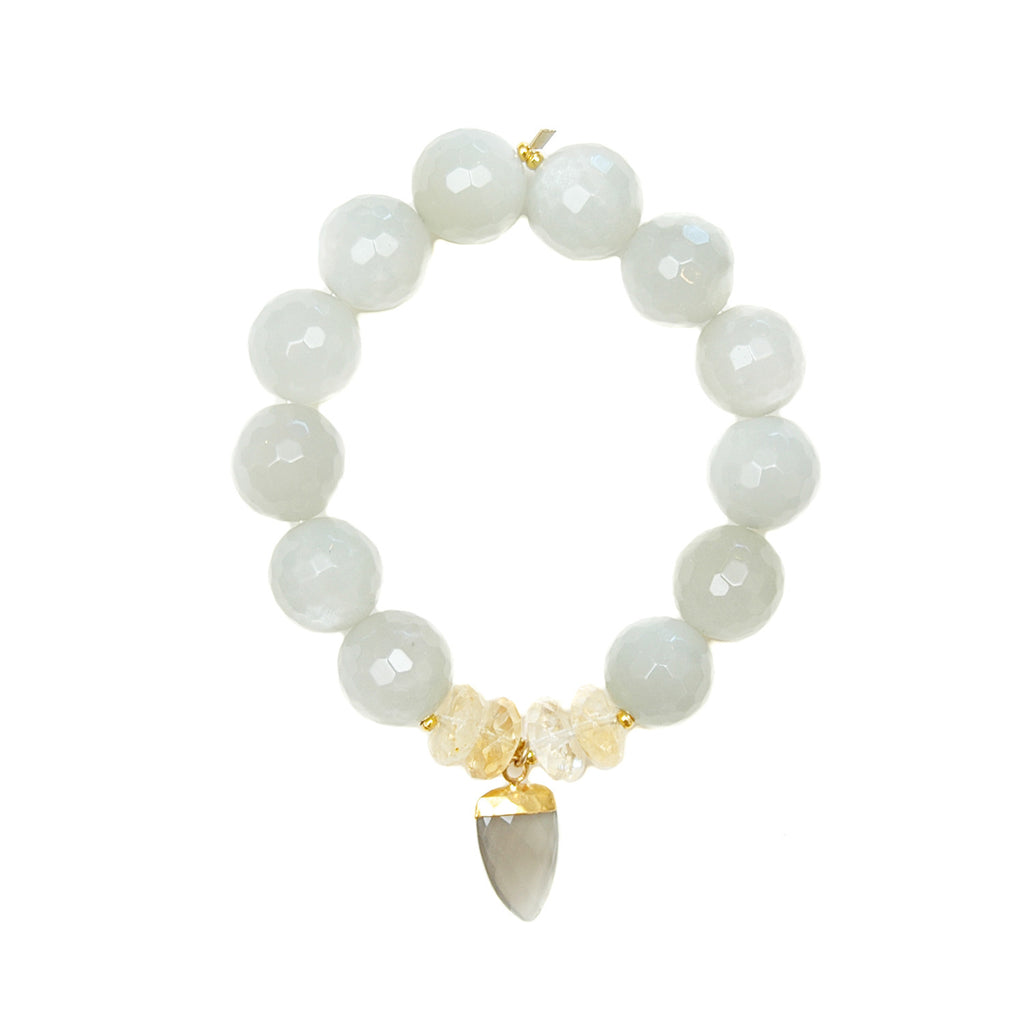 Grey Moonstone Bracelet with Citrine