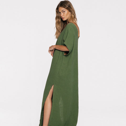 Jen's Pirate Booty Double Gauze Charam Kaftan in Olive