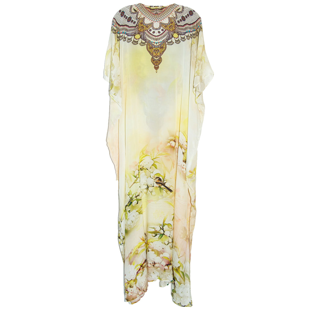 Shahida Parides Long Lace Up Cherry Blossom Kaftan
