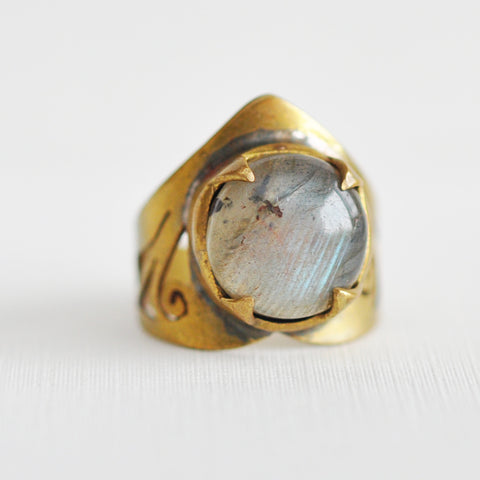Labradorite Spear Ring