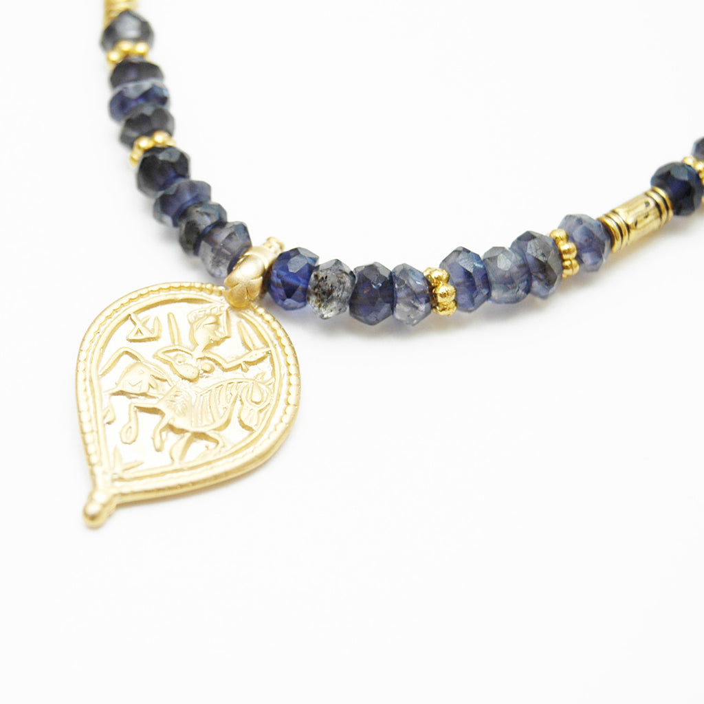 Lolite Gold Charm Necklace