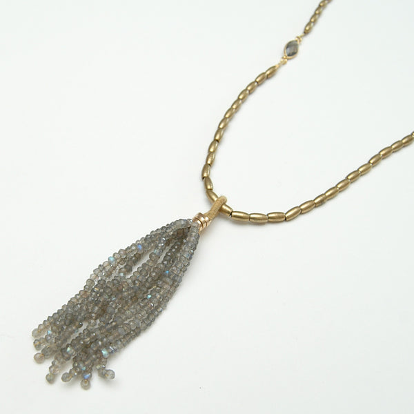 Lulu Labradorite Tassel Necklace