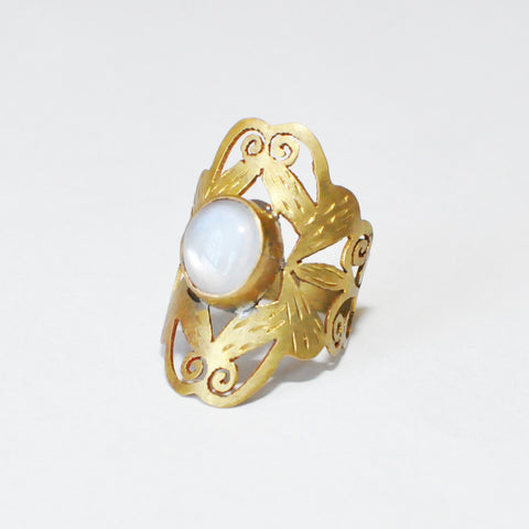 Moonstone Etched Brass Ring