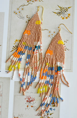 Nakamol Fringe Earrings in Coral