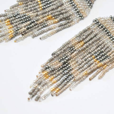 Nakamol Metallic Dark Grey & Gold Fringe Earrings
