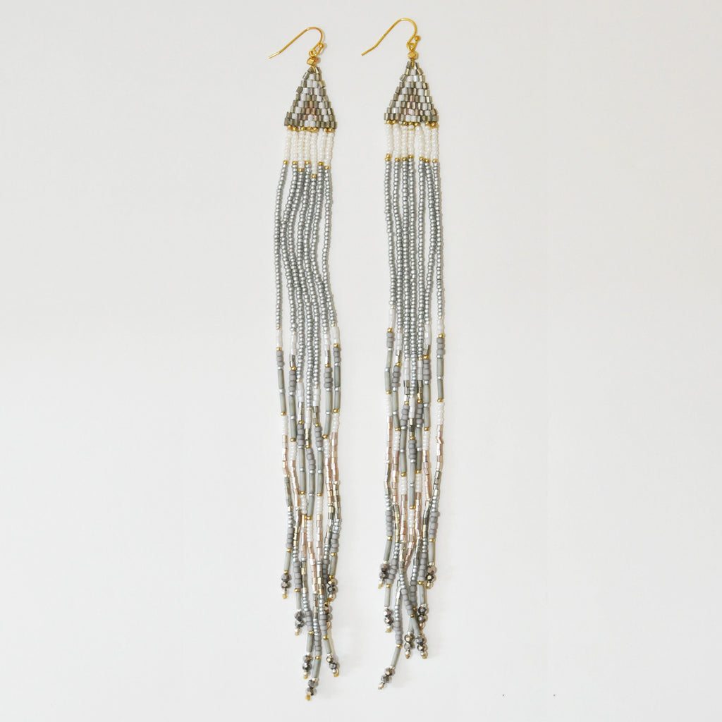 Nakamol Maxi Fringe Earrings in Grey