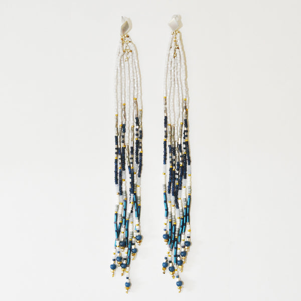 Nakamol Metallic Blue Maxi Fringe Earrings