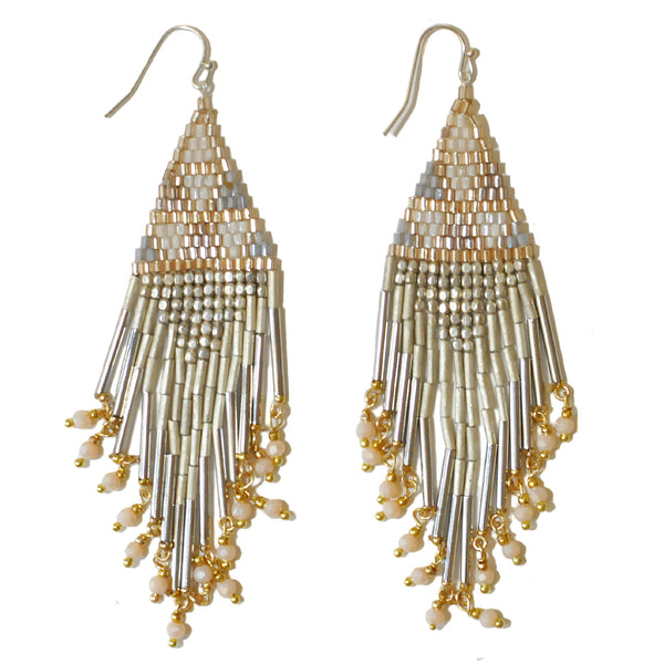 Nakamol Metallic Silver Fringe Earrings