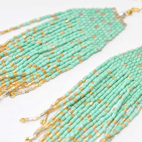 Nakamol Mint Fringe Earrings