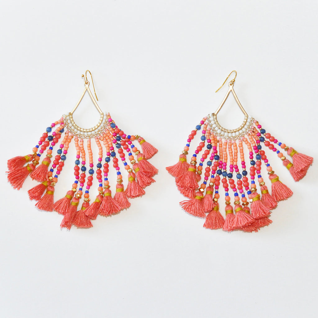 Nakamol Crimson Tassel Earrings