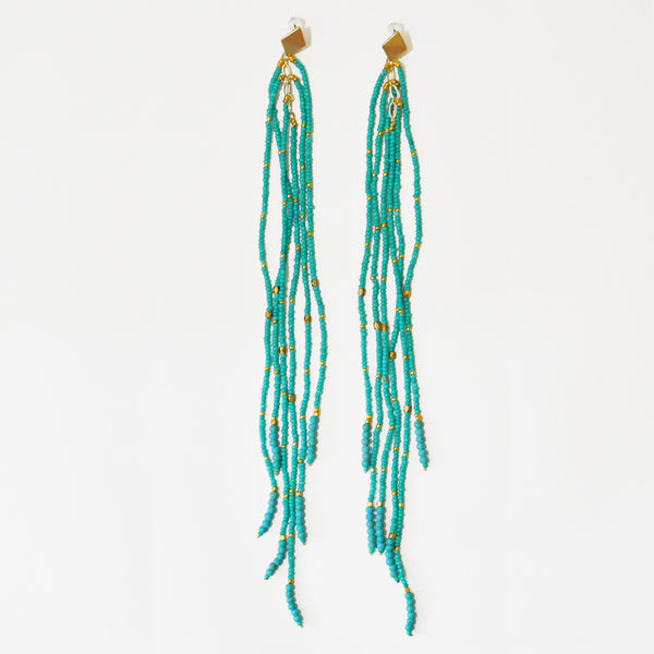 Nakamol Maxi Fringe Earrings in Turquoise